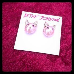 Betsey Johnson Pearl Cat Earrings - sample